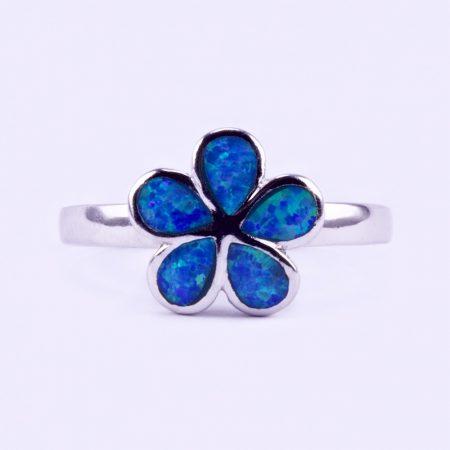"Ezüst kék opál köves gyűrű ""kis virág"""