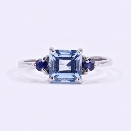 Ezüst kék topáz és zafír köves gyűrű