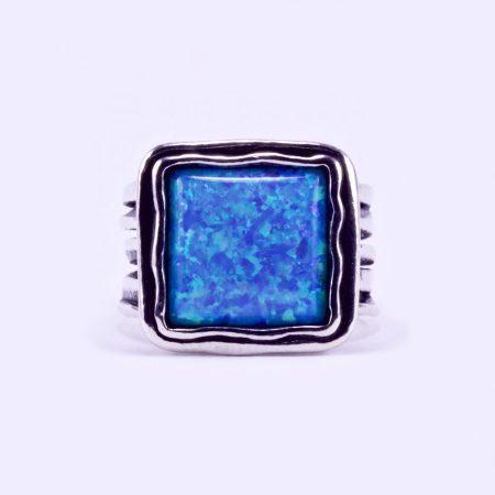 """Izraeli ezüst opál köves gyűrű """"nagy négyzet"""""""