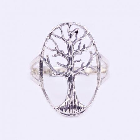 Ezüst ovális életfa gyűrű
