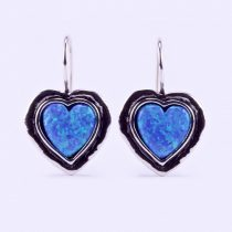 """Izraeli ezüst opál köves fülbevaló """"nagy.szív"""""""