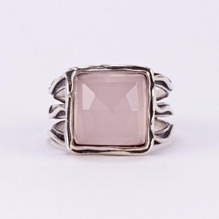 Izraeli ezüst rózsakvarc gyűrű