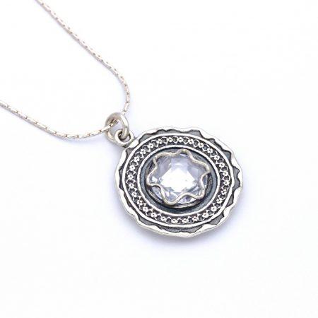 Izraeli ezüst cirkónia köves medál lánccal