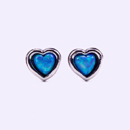 """Izraeli ezüst opál köves fülbevaló """"kis.szív"""""""