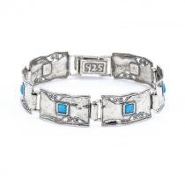 """Izraeli ezüst kék opál köves karlánc """"15"""""""