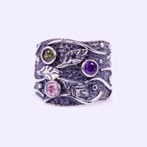 Ezüst antikolt színes cirkónia köves gyűrű