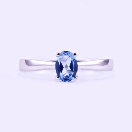 """Ezüst kék topáz gyűrű """"5x7"""""""