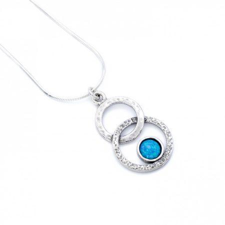 """Izraeli ezüst opál köves medál lánccal """"8"""""""