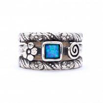 """Izraeli ezüst opál köves gyűrű """"virág+csigavonal"""""""