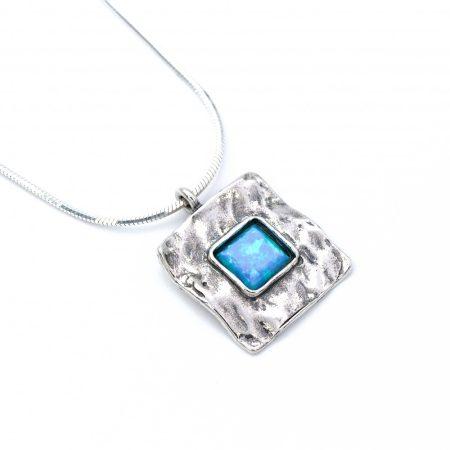 """Izraeli ezüst opál medál lánccal """"négyzet"""""""