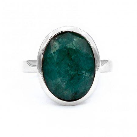 """Ezüst smaragd köves gyűrű """"12x16"""""""