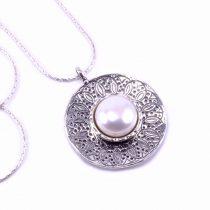 """Izraeli ezüst gyöngy medál lánccal """"köz.kerek"""""""