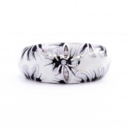 """Ezüst zománcozott cirkónia köves gyűrű """"feh-fek.virág"""""""