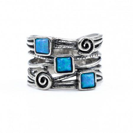 """Izraeli ezüst opál gyűrű """"csigavonal"""""""