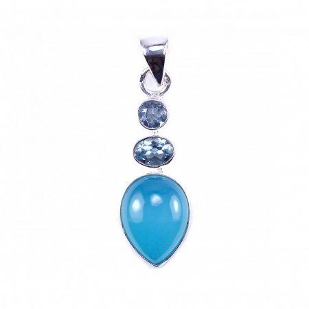 Ezüst aqua kalcedon és kék topáz köves medál