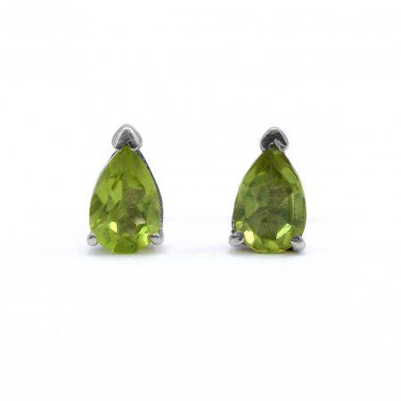 """Ezüst olivin (peridot) köves fülbevaló """"4x6"""""""
