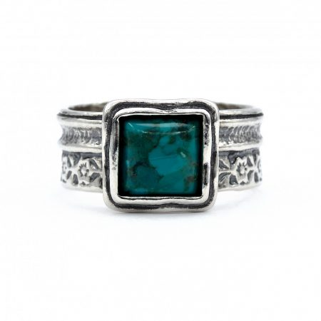 """Izraeli ezüst türkiz köves gyűrű """"kis.négyzet"""""""