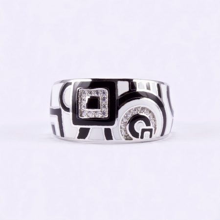 """Ezüst zománcozott, cirkónia köves gyűrű """"fekete-fehér"""""""