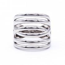 """Ezüst kő nélküli gyűrű """"6 soros.átlós"""""""