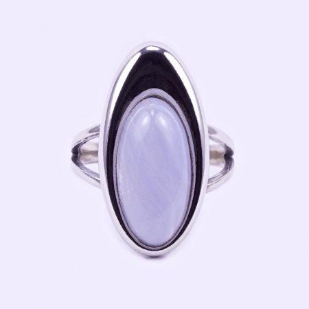 """Ezüst kalcedon köves gyűrű """"ovál"""""""