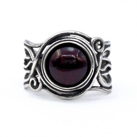 """Izraeli ezüst gránát köves gyűrű """"10"""""""