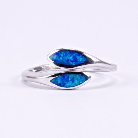 """Ezüst kék opál gyűrű """"kis áll"""""""