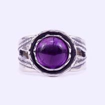"""Izraeli ezüst ametiszt köves gyűrű """"10"""""""