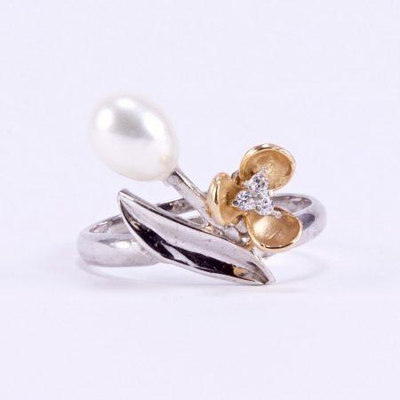 """Ezüst rosé aranyozott gyöngy gyűrű """"áll"""""""