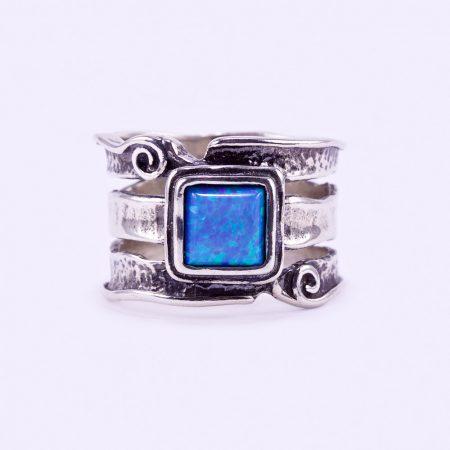 """Izraeli ezüst opál köves csőgyűrű """"6x6"""""""