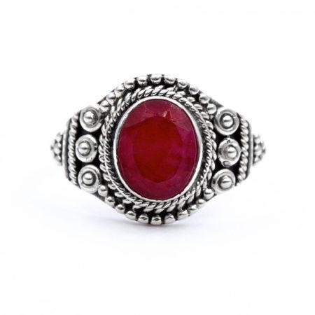 """Ezüst rubin köves gyűrű """"7x9"""""""