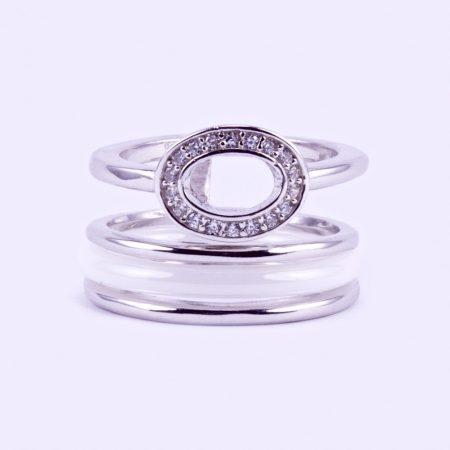 """Ezüst fehér kerámia és cirkónia köves gyűrű """"ovál"""""""