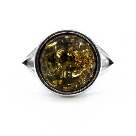 """Ezüst zöld borostyán gyűrű """"kerek.12"""""""