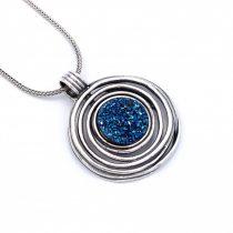 """Izraeli ezüst druzy köves medál lánccal """"kék"""""""