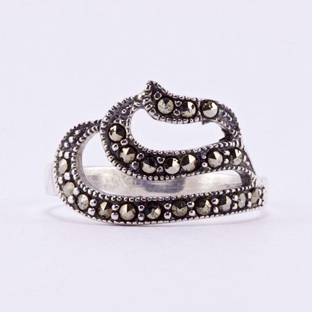 """Ezüst markazit köves gyűrű """"hullám"""""""