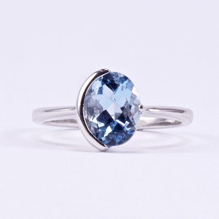Ezüst kék topáz gyűrű