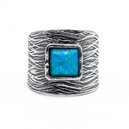 """Izraeli ezüst opál köves gyűrű """"8x8.szélesedő"""""""