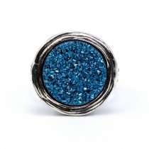 """Izraeli ezüst druzy köves gyűrű """"kék"""""""