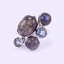 Ezüst labradorit és kék topáz gyűrű