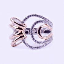 """Ezüst rosé aranyozott cirkónia köves gyűrű """"17"""""""