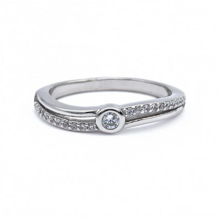 "Ezüst cirkónia köves gyűrű ""hullám"""