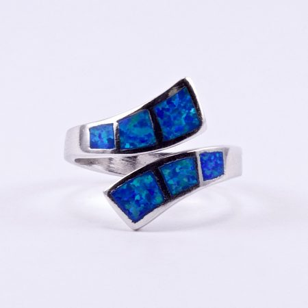 Ezüst kék opál köves gyűrű