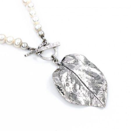 """Izraeli ezüst fűzött gyöngy lánc """"levél"""""""