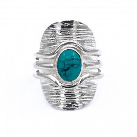 """Ezüst türkiz köves gyűrű """"6x8"""""""