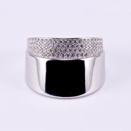 """Ezüst cirkónia köves gyűrű """"felül"""""""