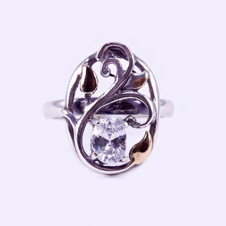 """Ezüst aranyozott cirkónia köves gyűrű """"inda"""""""