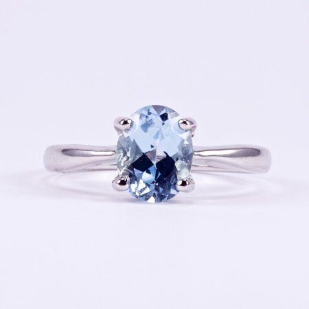 """Ezüst kék topáz gyűrű """"8x9"""""""