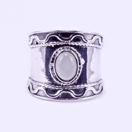 """Ezüst prehnit köves gyűrű """"szélesedő"""""""