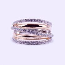 """Ezüst rosé aranyozott cirkónia köves gyűrű """"13"""""""