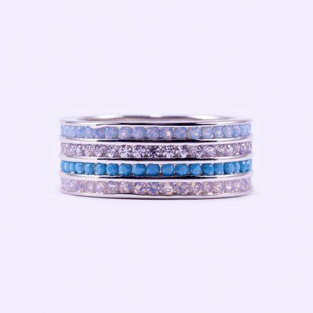 """Ezüst cirkónia köves gyűrű """"kék-fehér"""""""