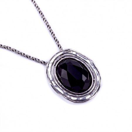 """Izraeli ezüst ónix köves medál antikolt lánccal """"ovál"""""""